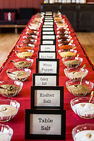 Spices set up in the Cottonwood Room in preparation for the Spice Blending Workshop at the Alisal BBQ Bootcamp. The Alisal Guest Ranch and Resort, Solvang, California.
