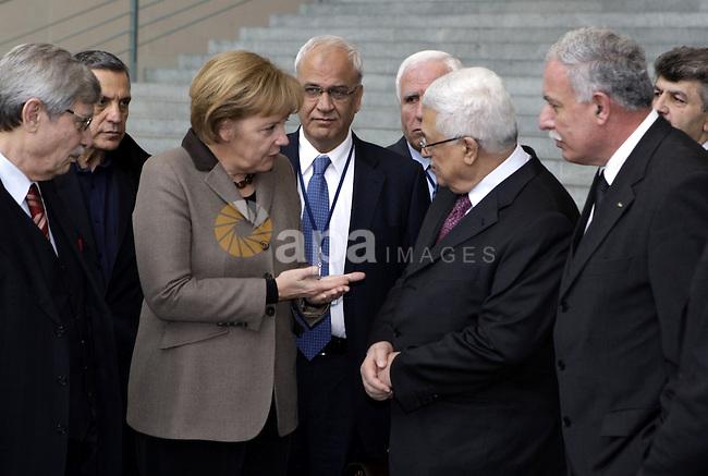 Palestinian President Mahmoud Abbas (Abu Mazen) during a meeting with German Chancellor Angela Merkel in Berlin on Feb 1,2010. Photo by Thaer Ganaim