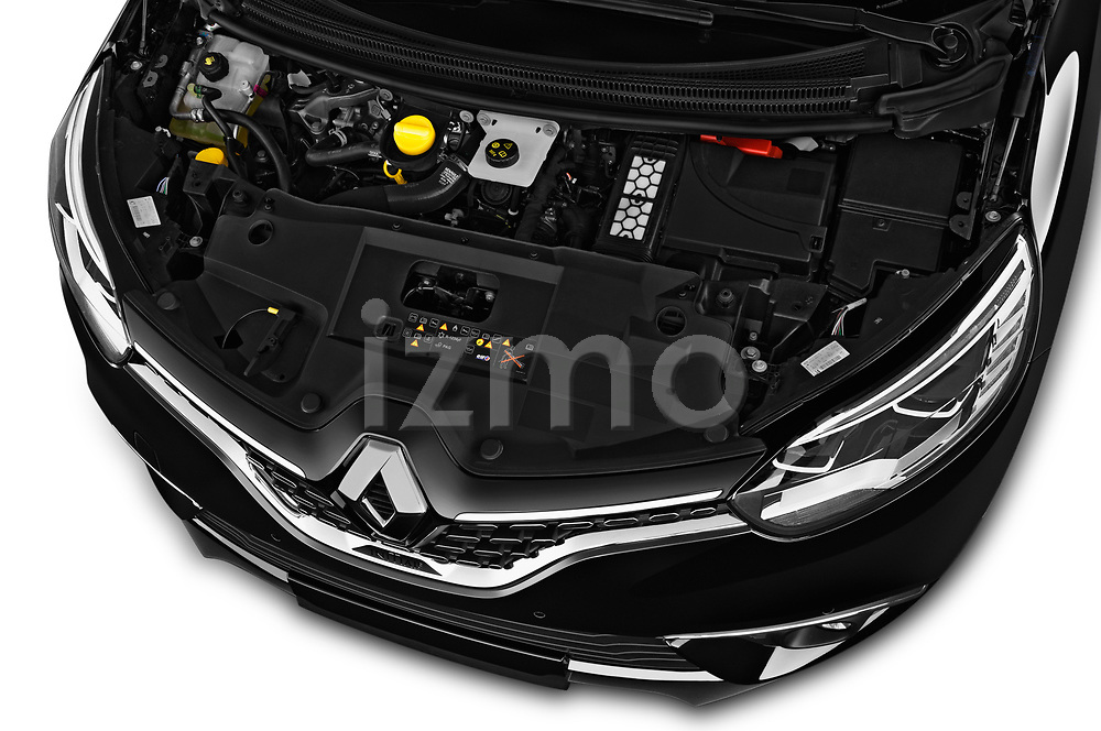 Car stock 2018 Renault Grand Scenic initiale paris 5 Door Mini Van engine high angle detail view
