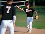 WATERTOWN,  CT-071018JS05-- Oakville's Cam Defeo (3) throws to teammate Robert Johnson (7) for the out during their Zone 5 American Legion game against Naugatuck Tuesday at the Taft School in Watertown. <br />  Jim Shannon Republican American