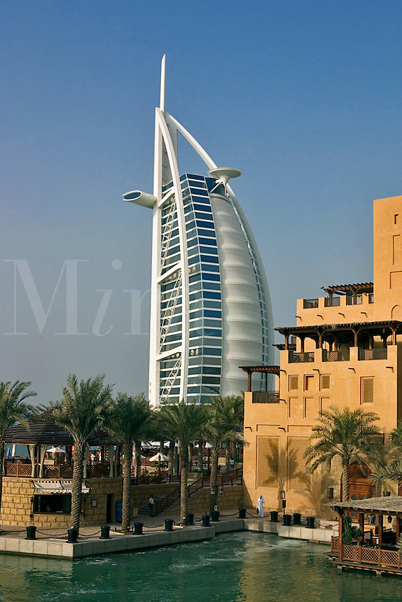 Dubai, United Arab Emirates. Madinat Jumeirah. Burj al Arab Hotel and Mina A'Salam Hotel. .