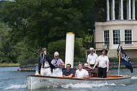 Henley. Berks, United Kingdom. <br /> <br /> Steam Launch, &quot;Consulta&quot; Umpire in the Stern and full company of crew, during the 2017 Henley' Women's Regatta. Rowing on, Henley Reach. River Thames. <br /> <br /> <br /> Saturday  17/06/2017<br /> <br /> <br /> [Mandatory Credit Peter SPURRIER/Intersport Images]