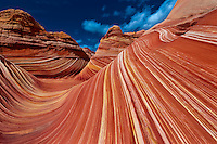 """The Wave"", a 190 million year old Jurassic-age Navajo sandstone rock formation, Coyote Buttes North, Paria Canyon-Vermillion Cliffs Wilderness Area, Utah-Arizona border, USA"