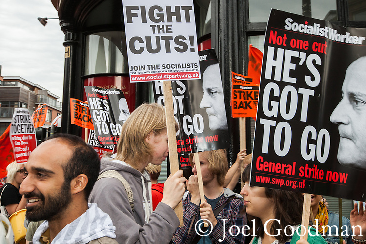 © Joel Goodman - 07973 332324  . 02/10/2011 . Manchester, UK . A protest against the government through Manchester City Centre during the 2011 Conservative Party Conference at the Manchester Central Convention Centre (formerly GMex) . Photo credit: Joel Goodman