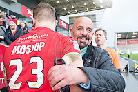 Picture by Allan McKenzie/SWpix.com - 04/03/2017 - Rugby League - Betfred Super League - Salford Red Devils v Warrington Wolves - AJ Bell Stadium, Salford, England - Salford owner Marwan Koukash congratulates his players after their victory over Warrington.