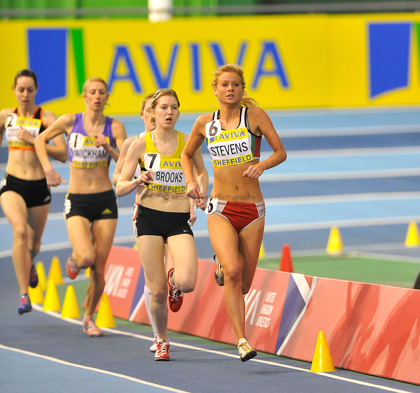 Photo: Paul Greenwood/Richard Lane Photography. Aviva World Trials & UK Championships. 14/02/2010. .Ellie Stevens in the Womens 1500m.