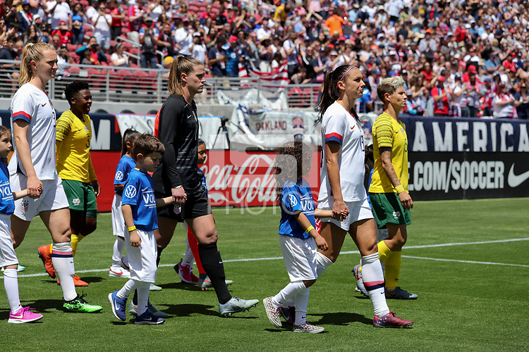 Santa Clara, CA - Sunday May 12, 2019: The women's national teams of the United States (USA) and South Africa (RSA) play in an international friendly match at Levi's Stadium.