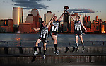 Brad Davis (27) of New York, West Australian Myles Walkington (27) and Brett Smiley (32) from Melbourne all play for reigning USAFL premiers The New York City Magpies and indulged in a little kick to kick by the Hudson river. A mixture of expat Aussies and Americans introduced to the game support a national competition with teams often travelling interstate for matches.