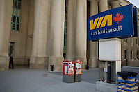 A VIA Rail Canada sign is pictured in front of Toronto Union Station April 20, 2010. Via Rail Canada (generally shortened to Via Rail or Via; styled corporately as VIA Rail Canada) is an independent crown corporation offering intercity passenger rail services in Canada.