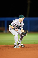 Siena Saints shortstop Marcos Campos (9) during a game against the Florida Gators on February 16, 2018 at Alfred A. McKethan Stadium in Gainesville, Florida.  Florida defeated Siena 7-1.  (Mike Janes/Four Seam Images)