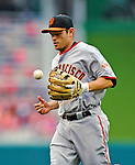 1 May 2011: San Francisco Giants infielder Freddy Sanchez trots back to the dugout during a game against the Washington Nationals at Nationals Park in Washington, District of Columbia. The Nationals defeated the Giants 5-2. Mandatory Credit: Ed Wolfstein Photo