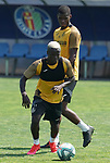 Getafe's Amath Ndiaye (f) and Florent Poulolo during training session. May 25,2020.(ALTERPHOTOS/Acero)