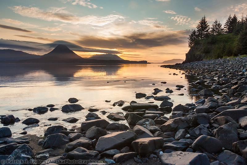 Sunset along the shores of Ambercrombie State Park, Kodiak Island, Alaska.