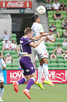 Erik Paartalau head the ball   during the  A-League soccer match between Melbourne City FC and Perth Glory at AAMI Park on February 22, 2015 in Melbourne, Australia.