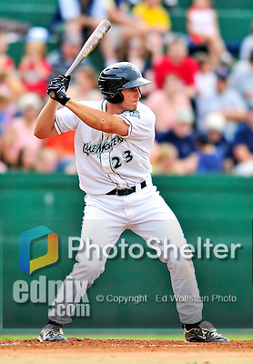 24 July 2010: Vermont Lake Monsters catcher David Freitas in action against the Lowell Spinners at Centennial Field in Burlington, Vermont. The Spinners defeated the Lake Monsters 11-5 in NY Penn League action. Mandatory Credit: Ed Wolfstein Photo