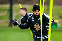Tuesday 19 April 2016<br /> Pictured: Jefferson Montero of Swansea City  during training <br /> Re: Swansea City Training Session ahead of the away game against Leicester City FC