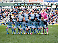 Sporting Kansas City lines up before the game at PPL Park in Chester, PA.  Kansas City defeated Philadelphia, 3-1.