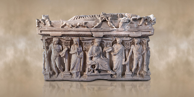 "Side panel of a Roman relief sculpted sarcophagus with kline couch lid, ""Columned Sarcophagi of Asia Minor"" style typical of Sidamara, 3rd Century AD, Konya Archaeological Museum, Turkey. Against a warm art background."