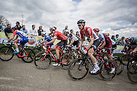 Tim Wellens (BEL/Lotto Soudal) and Michael Gogl (AUT/Trek Segafredo) up the Gulpenerberg.<br /> <br /> 53th Amstel Gold Race (1.UWT)<br /> 1 Day Race: Maastricht &gt; Berg en Terblijt (263km)