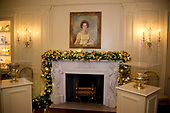 "The 2017 White House Christmas decorations, with the theme ""Time-Honored Traditions,"" which were personally selected by first lady Melania Trump, are previewed for the press in Washington, DC on Monday, November 27, 2017.  Green and gold decorations under the portrait of former first lady Lady Bird Johnson  over the mantel in the Vermeil Room<br /> Credit: Ron Sachs / CNP"