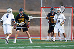 San Diego, CA 05/25/13 - Aaron Loy (La Costa Canyon #4), Spencer Brewster (Torrey Pines #25) and Nicholas Vreeburg (La Costa Canyon #2) in action during the 2013 CIF San Diego Section Open DIvision Boys Lacrosse Championship game.  Torrey Pines defeated La Costa Canyon 7-5.