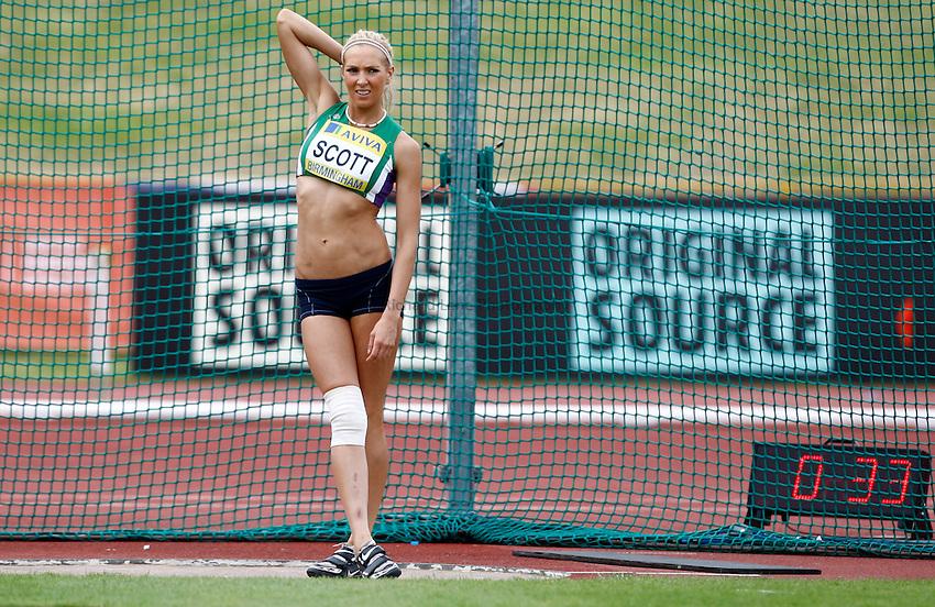 Photo: Richard Lane/Richard Lane Photography..Aviva World Trials & UK Championships athletics. 11/07/2009. Jenny Scott in the women's discus..