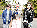 Alexander Harris who was confirmed at the Church of the Immaculate Conception Termonfeckin with his mother Sandra and sisters Fraya and Elsa. Photo:Colin Bell/pressphotos.ie