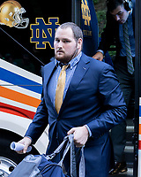 ATHENS, GA - SEPTEMBER 21: Tommy Kraemer #78 of the Notre Dame Fighting Irish arrives prior to the game during a game between Notre Dame Fighting Irish and University of Georgia Bulldogs at Sanford Stadium on September 21, 2019 in Athens, Georgia.