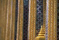 Gilded decorations and ornaments on facade, Grand Palace, Bangkok, Thailand