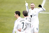 Real Madrid's Cristiano Ronaldo, Garet Bale and Karim Benzema celebrate goal during La Liga match.January 18,2013. (ALTERPHOTOS/Acero) /NortePhoto<br /> NortePhoto.com