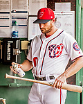8 July 2017: Washington Nationals second baseman Daniel Murphy tends to his bat in the dugout prior to a game against the Atlanta Braves at Nationals Park in Washington, DC. The Braves shut out the Nationals 13-0 to take the third game of their 4-game series. Mandatory Credit: Ed Wolfstein Photo *** RAW (NEF) Image File Available ***