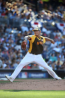 Anthony Banda of the USA Team pitches against the World Team during The Futures Game at Petco Park on July 10, 2016 in San Diego, California. World Team defeated USA Team, 11-3. (Larry Goren/Four Seam Images)