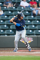 Connor Myers (9) of the Myrtle Beach Pelicans at bat against the Winston-Salem Dash at BB&T Ballpark on May 11, 2017 in Winston-Salem, North Carolina.  The Pelicans defeated the Dash 9-7.  (Brian Westerholt/Four Seam Images)