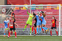 Bridgeview, IL, USA - Saturday, April 23, 2016: Western New York Flash goalkeeper Sabrina D'Angelo (1) punches the ball during a regular season National Women's Soccer League match between the Chicago Red Stars and the Western New York Flash at Toyota Park. Chicago won 1-0.