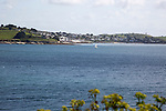 Sailing boats in River Fal estuary by St Mawes, view from Falmouth, Cornwall, England, UK