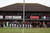 The teams shake hands in front of the clubhouse during May & Baker vs Swaffham Town, Buildbase FA Vase Football at Gale Street on 4th November 2018
