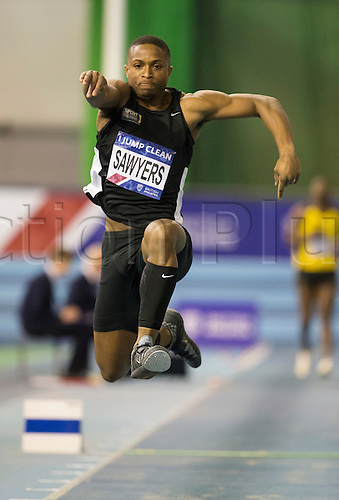 27.02.2016. EIS Sheffield, Sheffield, England. British Indoor Athletics Championships Day One. Johnny Sawyers, WSE Hounslow, competes in the Men's Triple Jump Final.