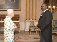 14 June 2017 - Queen Elizabeth II is presented with the Letters of Recall of his predecessor and his own Letters of Credence by His Excellency Ernest Ndabashinze, the Ambassador from the Republic of Burundi, during a private audience in Buckingham Palace, central London. Photo Credit: ALPR/AdMedia