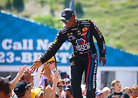 Jun 17, 2018; Bristol, TN, USA; NHRA top fuel driver Antron Brown during the Thunder Valley Nationals at Bristol Dragway. Mandatory Credit: Mark J. Rebilas-USA TODAY Sports
