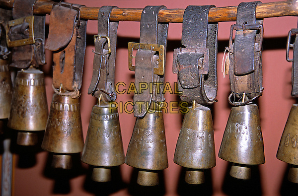 Cattle bells suspended from pole, Ethnographic Museum, Plovdiv, Bulgaria