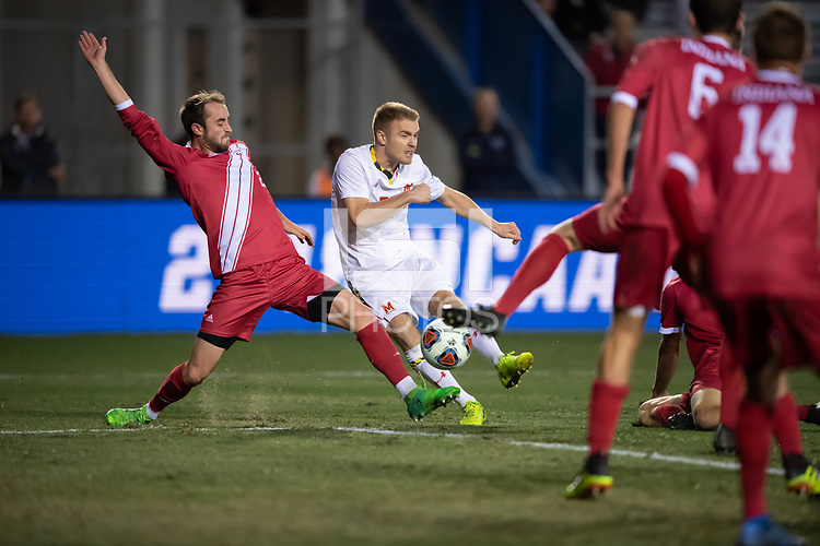 Santa Barbara, CA - Friday, December 7, 2018:  Maryland men's soccer defeated Indiana 2-0 in a semi-final match in the 2018 College Cup.  Matt Di Rosa scored on this shot.