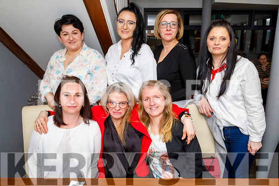 Celebrating International Women's Day in La Scala on Sunday evening.<br /> seated l to r: Momike Morawska, Anna Rzeznik and Anetta Talaga.<br /> Standing: Malgorzata Krolzak, Adraina Zieunska, Annieska Adamczyk and Weronika Kasperkiewicz.