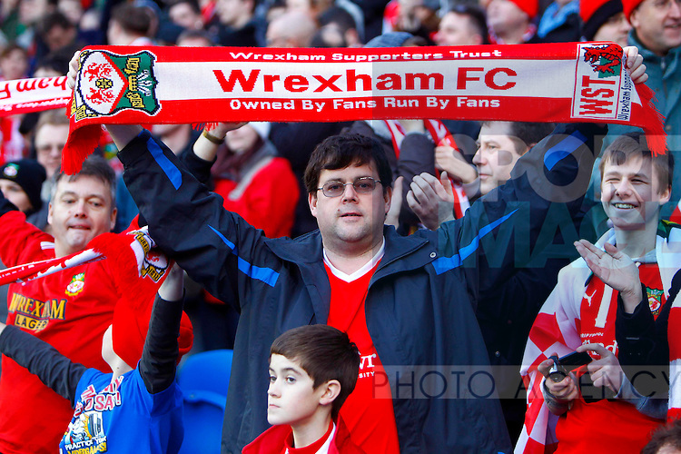 Wrexham fans enjoy the FA Cup atmosphere.Brighton & Hove Albion v Wrexham in the FA Cup with Budweiser 3rd Round, at the Amex Stadium, Brighton, 7th January 2012.--------------------.Sportimage +44 7980659747.picturedesk@sportimage.co.uk.http://www.sportimage.co.uk/.Editorial use only. Maximum 45 images during a match. No video emulation or promotion as 'live'. No use in games, competitions, merchandise, betting or single club/player services. No use with unofficial audio, video, data, fixtures or club/league logos.