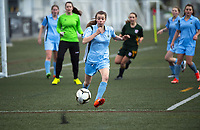 Action from the Wellington 1st XI premier 2 girls football match between Samuel Marsden Collegiate School and Wellington High School at Wakefield Park in Wellington, New Zealand on Wednesday, 7 August 2019. Photo: Dave Lintott / lintottphoto.co.nz