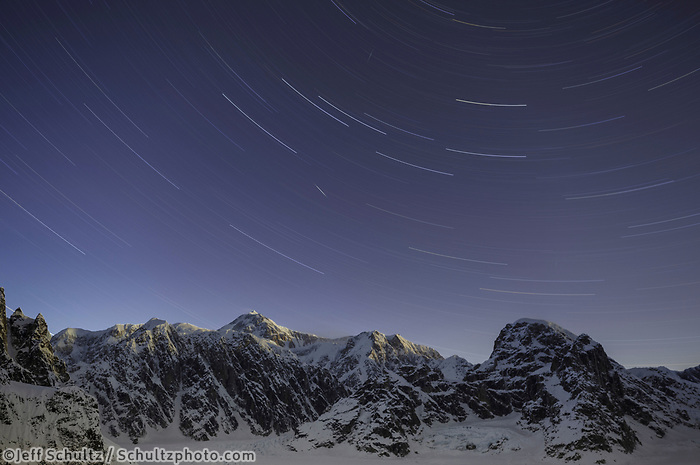 Winter landscape of star trails over Denali (Mt. Mckinley) and the  Ruth Glacier and Amphitheater in the Alaska Range.  Winter 2017<br /> <br /> Photo by Jeff Schultz/SchultzPhoto.com  (C) 2017  ALL RIGHTS RESERVED