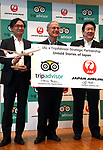 "September 11, 2017, Tokyo, Japan - Japan Airlines (JAL) president Yoshiharu Ueki (R) smiles with World's largest travel site operator TripAdvisor president Stephen Kaupher (C) and TripAdvisor Japanese manager Tomoe Makino at the JAL headquarters in Tokyo on Monday, September 11, 2017. TripAdvisor and JAL announced a strategic partnership and JAL will launch a website of ""Untold Stories of Japan"" on the TripAdvisor website from October for the promotion of tourism in Japan. (Photo by Yoshio Tsunoda/AFLO) LWX -ytd-"