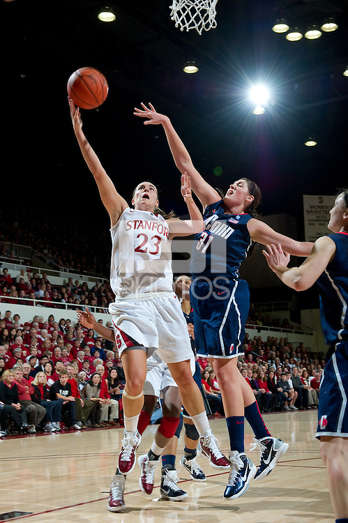 STANFORD CA-DECEMBER 30, 2010: Jeanette Pohlen drives to the basket during the Stanford 71-59 victory over UCONN at Maples Pavilion.