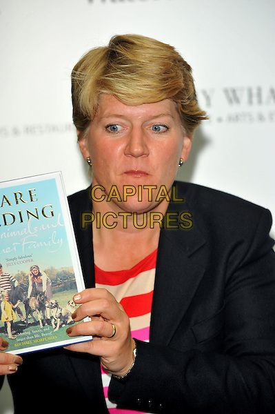 Clare Balding.Book signing of 'My Animals and Other Family' at Waterstones, Canary Wharf, London, England..September 18th, 2012.headshot portrait red white stripe top blazer.CAP/CJ.©Chris Joseph/Capital Pictures.