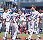Reno's Conor Allard, right, is congratulated by teammates at home plate after hitting a home run in the NIAA Division I Northern Region Baseball Championship between the Galena Grizzlies and the Reno Huskies played on Saturday, May 14, 2016 at Peccole Park in Reno, Nevada.