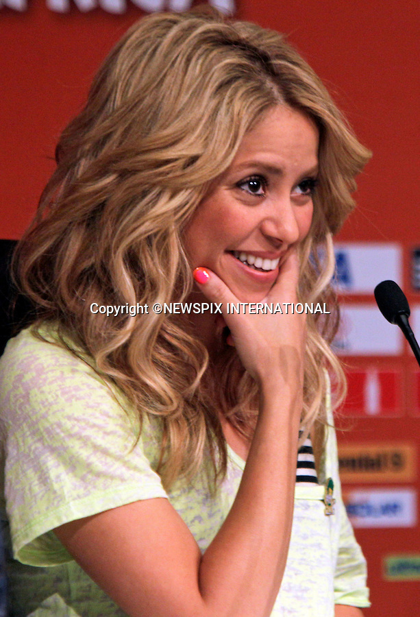 """SHAKIRA.the Colombian singer, at Soccer City prior to performing at the closing ceremony for the 2010 FIFA Soccer World Cup, Johannesburg_10/07/2010  .Mandatory Credit Photos: ©Newspix International..**ALL FEES PAYABLE TO: """"NEWSPIX INTERNATIONAL""""**..PHOTO CREDIT MANDATORY!!: NEWSPIX INTERNATIONAL(Failure to credit will incur a surcharge of 100% of reproduction fees)..IMMEDIATE CONFIRMATION OF USAGE REQUIRED:.Newspix International, 31 Chinnery Hill, Bishop's Stortford, ENGLAND CM23 3PS.Tel:+441279 324672  ; Fax: +441279656877.Mobile:  0777568 1153.e-mail: info@newspixinternational.co.uk"""